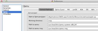 Qemu set up for GNS3