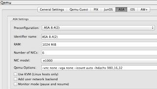 ASA GNS3 Qemu options