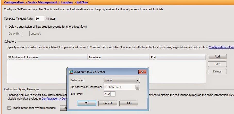 Add Netflow Collector Cisco ASA