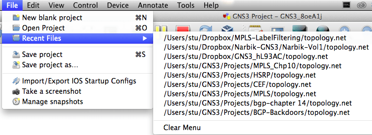 GNS3 recent file menu