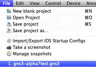 GNS3 1.0 Alpha 7 recent file menu