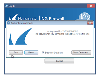 Barracuda NGAdmin login certificate