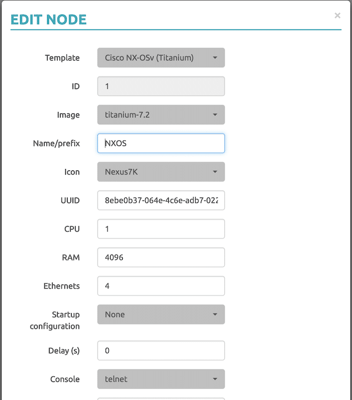 NX-OS Memory UNetLab